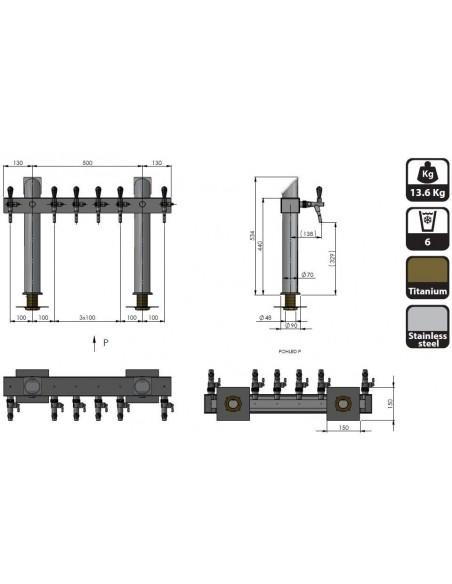 """STV00892 - Tapptorn """"T6"""" i rostfritt med 6 kranar + märkbrickor"""