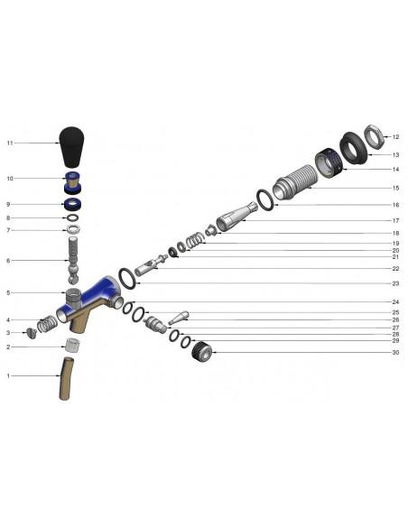 KOH01947 - Tappkran mässingspläterad 5/8-55 mm, normal pip