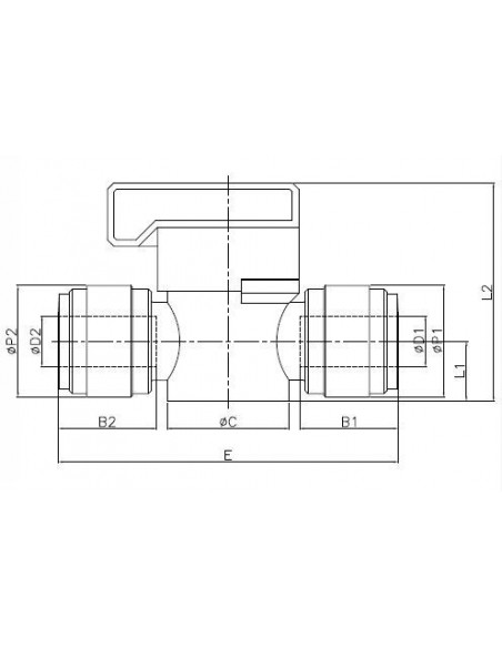HBVU-M - Kranar och ventiler - FluidFit HBVU Avstängningskran (mm)