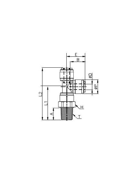 HRST-I - T-koppling  - FluidFit HRST snabbkoppling vridbar T-koppling med utvändig sidoplacerad gänga NPTF (tum)