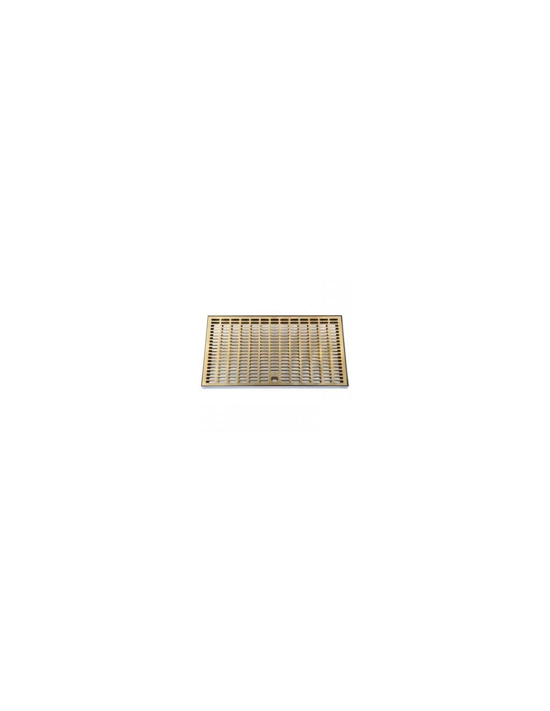 VYR02276 - Spillbrickor - Spillbricka i rostfritt med droppgaller i mässing 400x220x20 mm