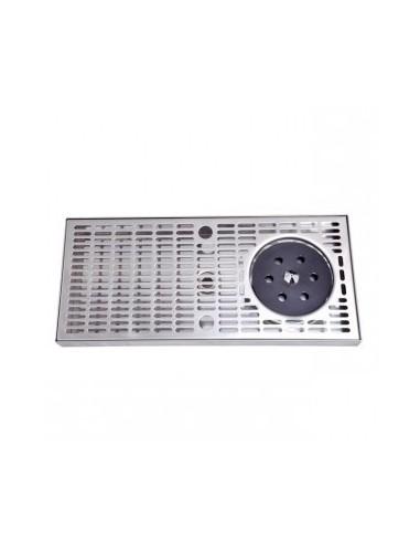 POL03127 - Spillbrickor - Spillbricka rostfritt stål 400x180x30 mm med glastvätt