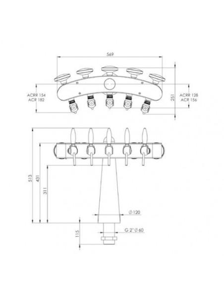 UPP00141 - Tapptorn komplett - Tapptorn Totem 3 tappkranar och belysning