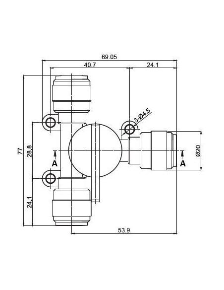 HASV-I - Kranar och ventiler - FluidFit HASV Avstängningskran - 3-vägs (tum)