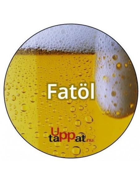 """Välvd dekal med texten """"Fatöl"""" ⌀81 mm"""