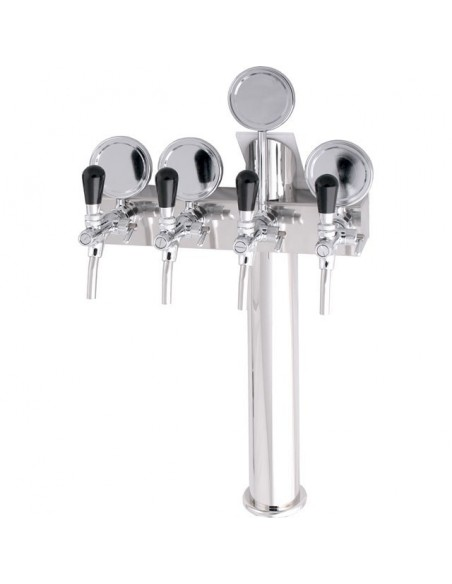 "STV00883 - Beer font ""T4"" in stainless steel with 4 taps + medallions"