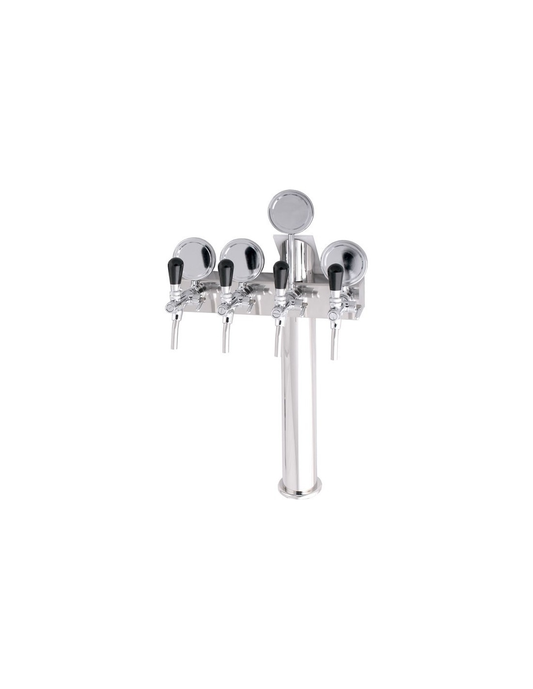 """STV00883 - Beer font """"T4"""" in stainless steel with 4 taps + medallions"""