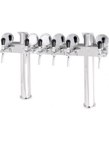 """STV00888 - Beer font """"T6"""" in stainless steel with 6 taps on an 8 tap body + medallions"""