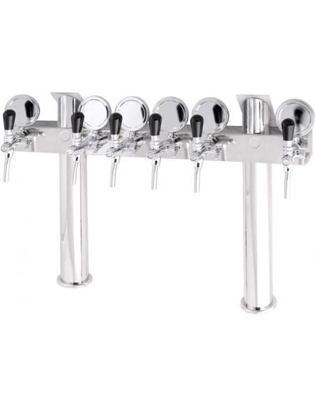 """Beer font """"T6"""" in stainless steel with 6 taps on an 8 tap body + medallions"""