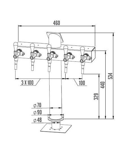 """STV00886 - Tapptorn """"T5"""" i rostfritt med 5 kranar + märkbrickor"""
