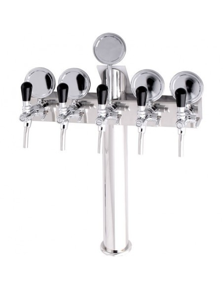 "STV00886 - Beer font ""T5"" in stainless steel with 5 taps + medallions"