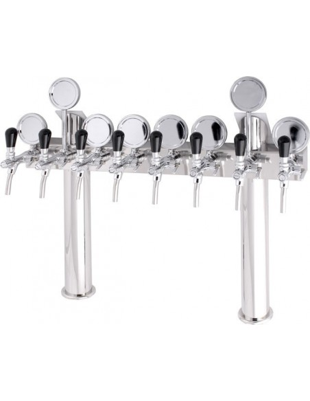 "STV00887 - Beer font ""T8"" in stainless steel with 5 taps + medallions"