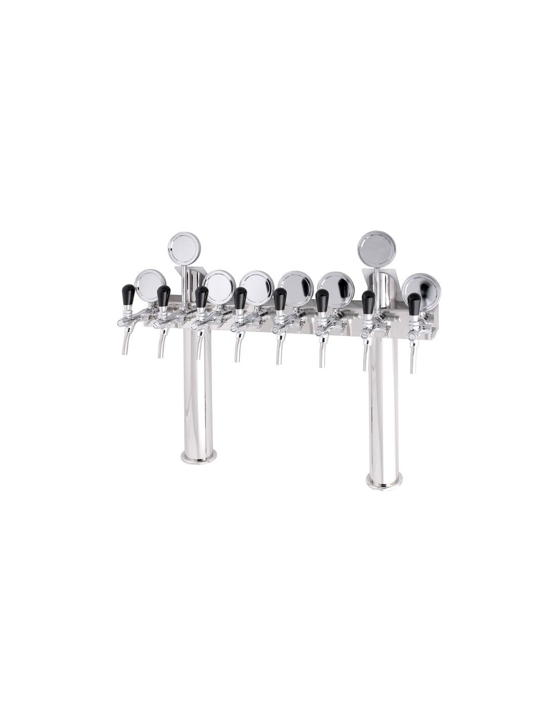 """STV00887 - Beer font """"T8"""" in stainless steel with 5 taps + medallions"""