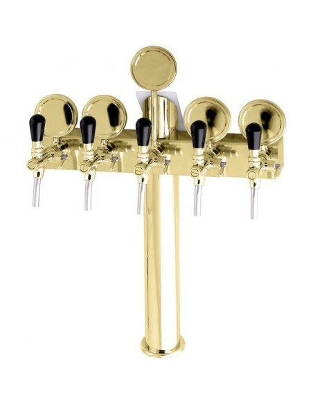 """Beer font """"T5"""" in PVD with 5 taps + medallions"""