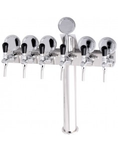"STV00892 - Beer font ""T6"" in stainless steel with 6 taps + medallions"