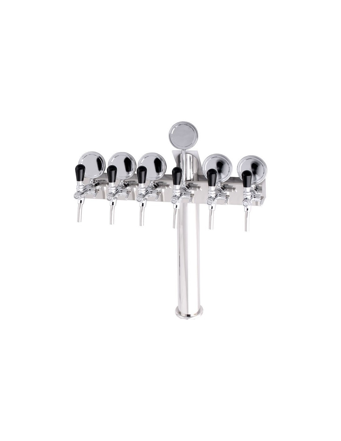 """STV00892 - Beer font """"T6"""" in stainless steel with 6 taps + medallions"""