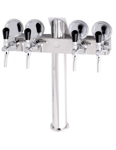 """STV01300 - Beer font """"T4"""" in stainless steel with 4 taps on an 5 tap body + medallions"""