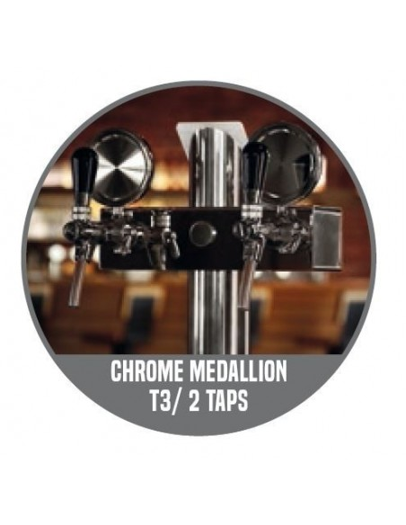 """STV01301 - Beer font """"T2"""" in stainless steel with 2 taps on an 3 tap body + medallions"""