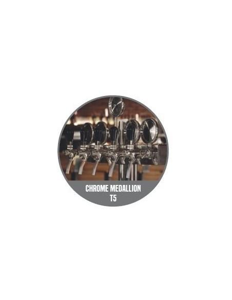 """STV01303 - Tapptorn """"T4"""" i mässing med 4 kranar på en 5-kransarmatur + märkbrickor"""