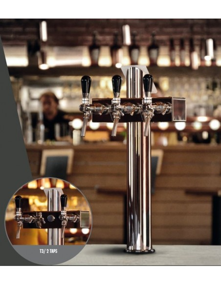 "STV01796 - Beer font ""T3"" in stainless steel with 3 taps"