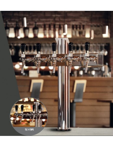 "Beer font ""T4"" in stainless steel with 4 taps on an 5 tap body"