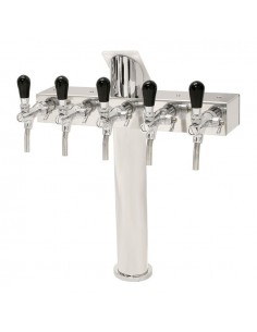 "STV01800 - Beer font ""T4"" in stainless steel with 4 taps on an 5 tap body"