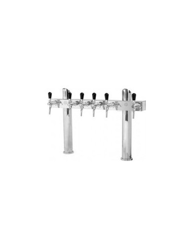 """STV01799 - Beer font """"T6"""" in stainless steel with 6 taps on an 8 tap body"""