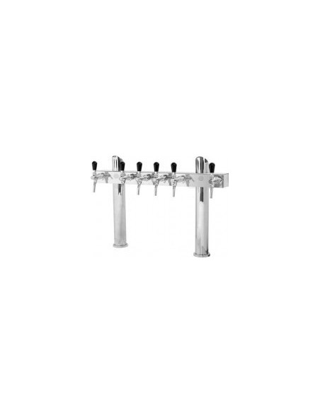 """Beer font """"T6"""" in stainless steel with 6 taps on an 8 tap body"""