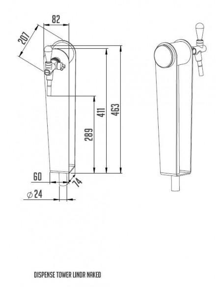 """STV02129 - Tapptorn """"Naked"""" i rostfritt 1 kran förberedd med ljusskylt"""