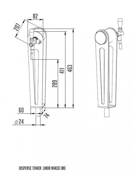 """STV02128 - Tapptorn """"Naked one"""" i rostfritt med 1 kran och handtag och märkbricka i ek"""
