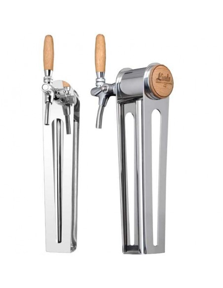 "STV02128 - Beer font ""Naked one"" in stainless steel with 1 tap - handle and medallion in oak wood"