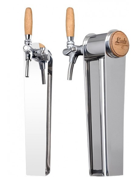 """STV02131 - Beer font """"Naked"""" in stainless steel with 1 tap - handle and medallion in oak wood"""