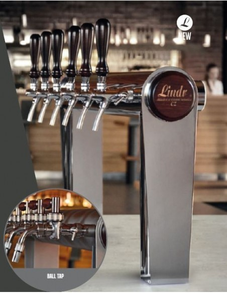 "STV02137 - Beer font ""Naked Cold Bridge"" in stainless steel for 8 beer taps (taps are purchased separately)."