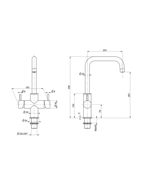 UPP00193 - Tapptorn komplett - Blupura T5 (Ny Modell) 5-vägs köksblandare helt i rostfritt för vanligt och kolsyrat vatten