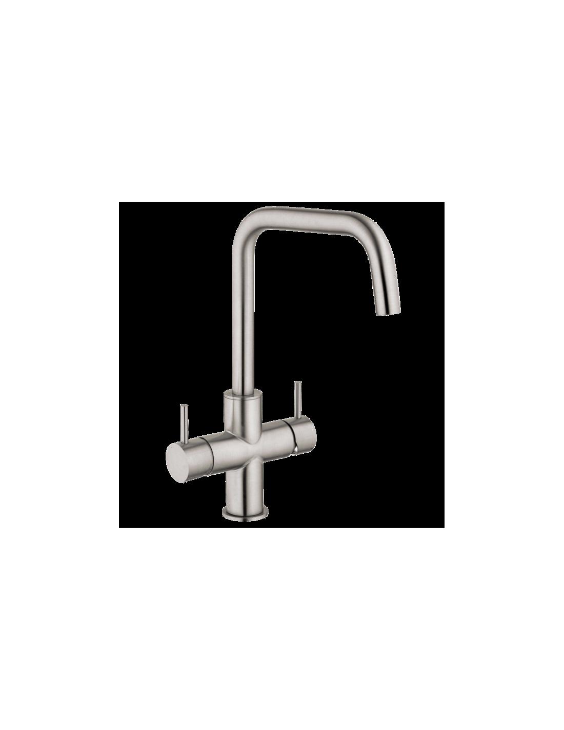 UPP00193 - Tapptorn för kolsyrat vatten - Blupura T5 (Ny Modell) 5-vägs köksblandare helt i rostfritt för vanligt och kolsyra...