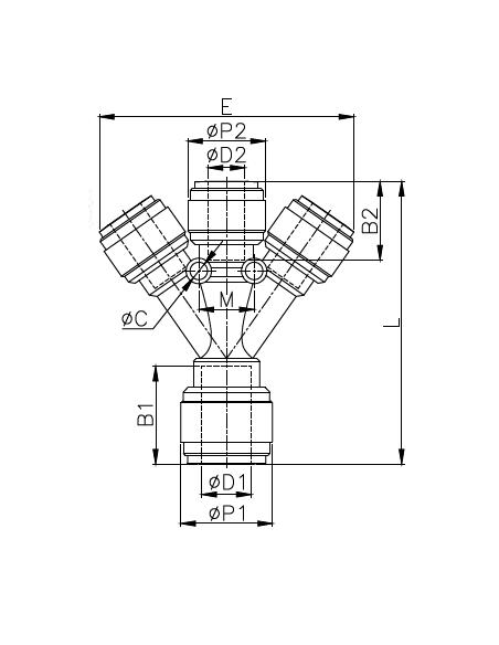 HTWD-I - Fördelare - FluidFit HTWD snabbkoppling 3-vägskoppling (tum)