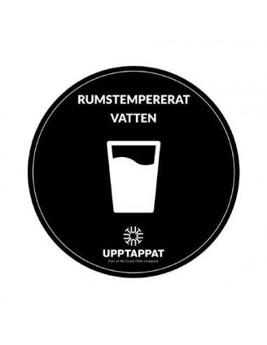 """UPP00201 - Tillbehör - Välvd dekal med texten """"Rumstempererat vatten"""" vit text på svart botten ⌀82 mm"""