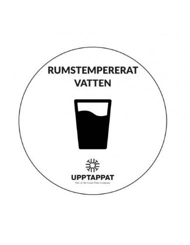 """UPP00198 - Tillbehör - Välvd dekal med texten """"Rumstempererat vatten"""" svart text på vi botten ⌀82 mm"""