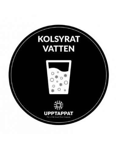 """UPP00200 - Tillbehör - Välvd dekal med texten """"Kolsyrat vatten"""" vit text på svart botten ⌀82 mm"""