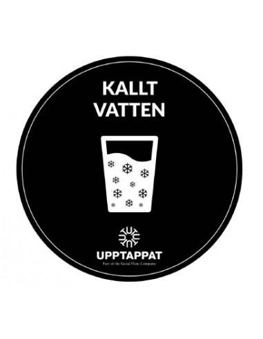 """UPP00199 - Tillbehör - Välvd dekal med texten """"Kallt vatten"""" vit text på svart botten ⌀82 mm"""