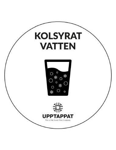 """UPP00197 - Tillbehör - Välvd dekal med texten """"Kolsyrat vatten"""" svart text på vi botten ⌀82 mm"""