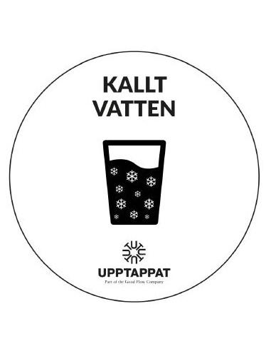 """UPP00196 - Tillbehör - Välvd dekal med texten """"Kallt vatten"""" svart text på vi botten ⌀82 mm"""