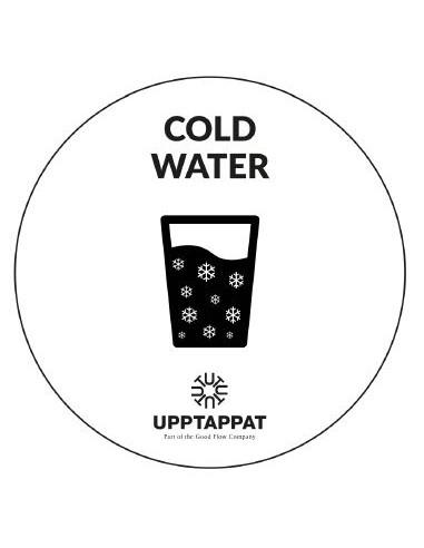 """UPP00202 - Tillbehör - Välvd dekal med texten """"Cold water"""" svart text på vi botten ⌀82 mm"""