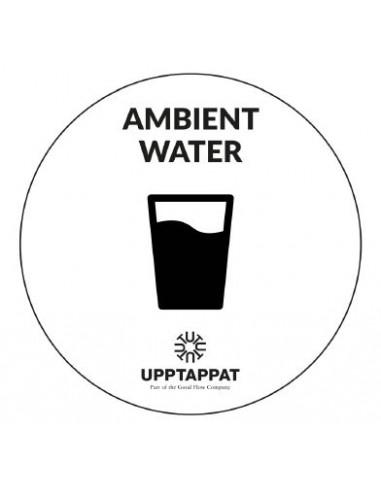 """UPP00203 - Tillbehör - Välvd dekal med texten """"Ambient water"""" svart text på vi botten ⌀82 mm"""