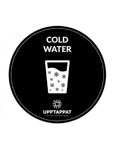 """UPP00205 - Tillbehör - Välvd dekal med texten """"Cold water"""" vit text på svart botten ⌀82 mm"""