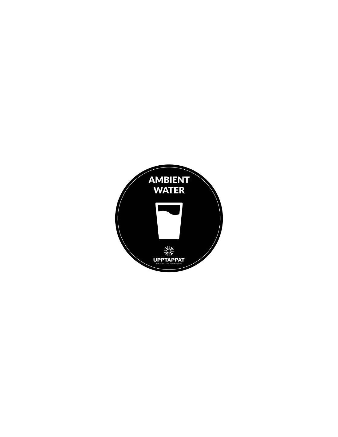 """UPP00206 - Tillbehör - Välvd dekal med texten """"Ambient water"""" vit text på svart botten ⌀82 mm"""