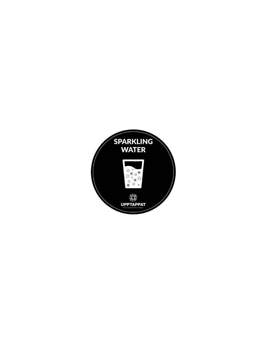 """UPP00207 - Tillbehör - Välvd dekal med texten """"Sparkling water"""" vit text på svart botten ⌀82 mm"""
