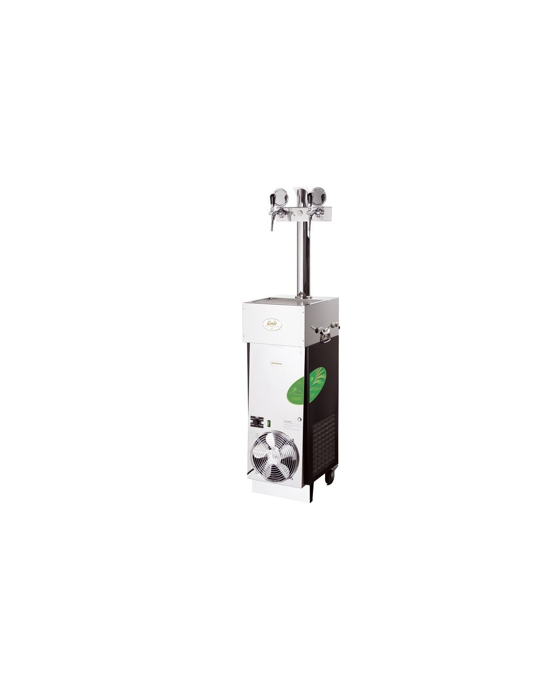 "CWP00478 - Vätskekylda fatölskylare med isbank - Lindr CWP 200 mobil ""green line"" mobil enhet med 2 kranar"