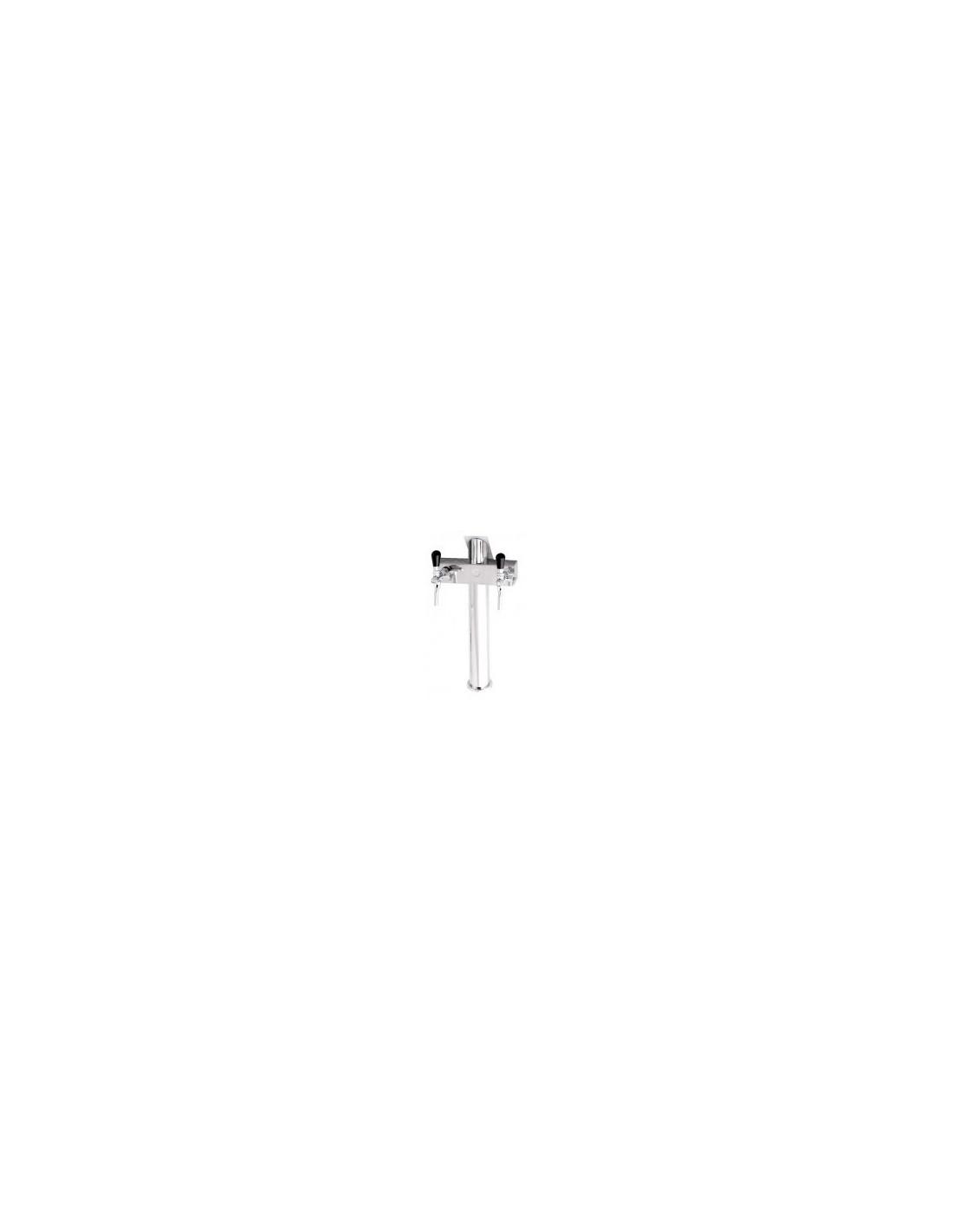 """STV01801 - Tapptorn """"T2"""" i rostfritt med 2 kranar på en 3-kransarmatur"""