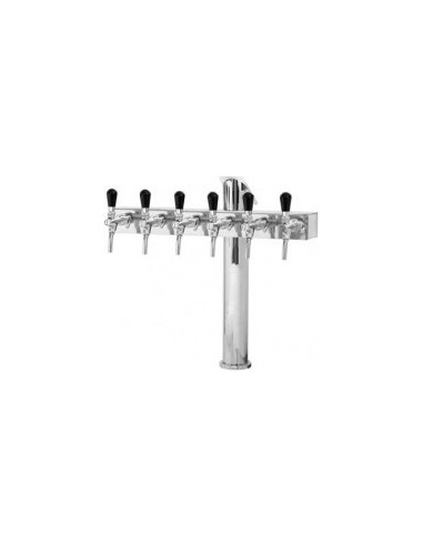 "STV01802 - Beer font ""T6"" in stainless steel with 6 taps"